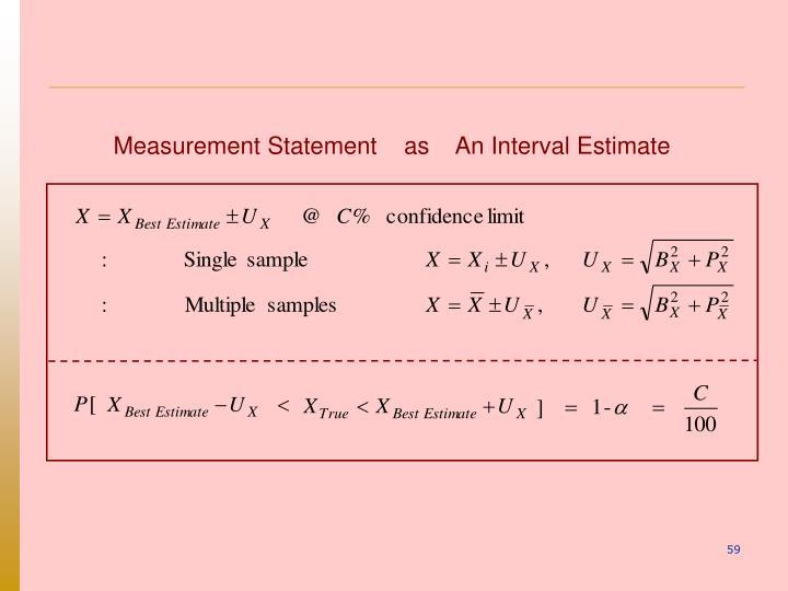 Measurement Statement    as    An Interval Estimate
