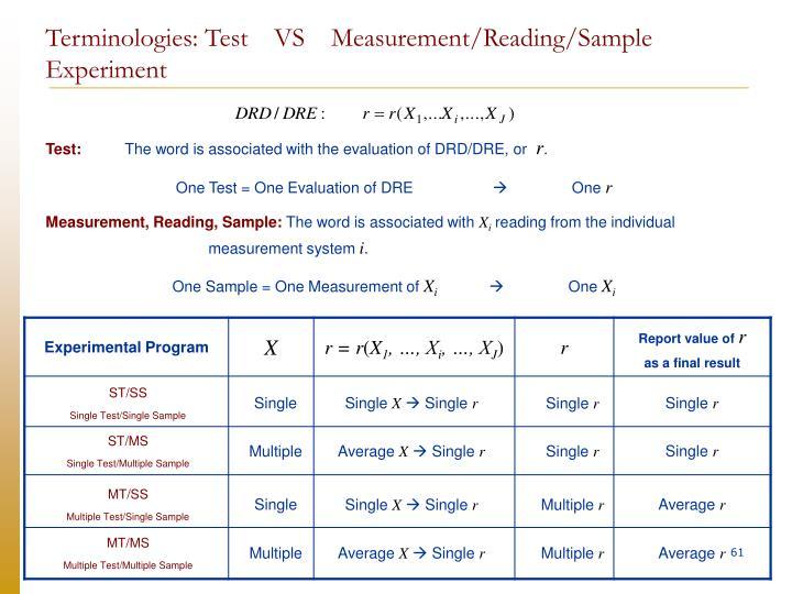 Terminologies: Test    VS    Measurement/Reading/Sample