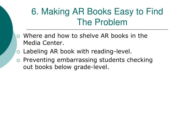 6. Making AR Books Easy to Find        The Problem