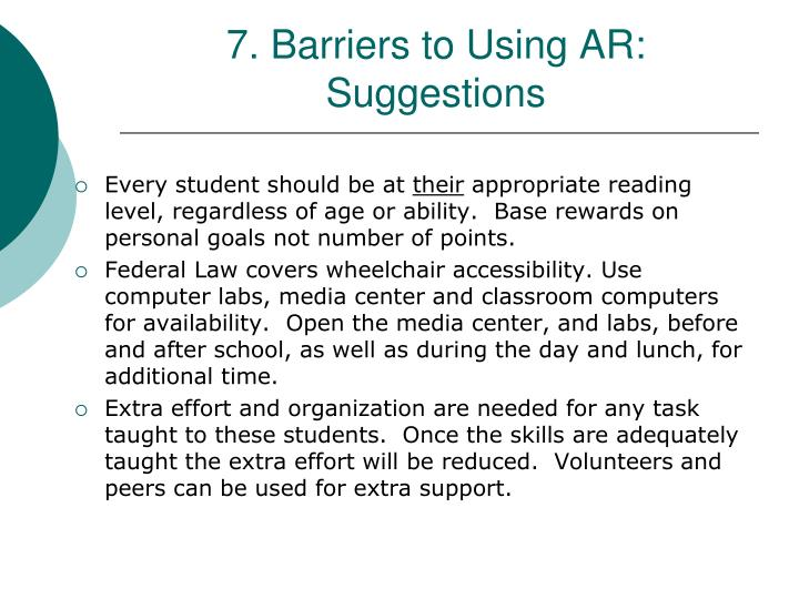 7. Barriers to Using AR:
