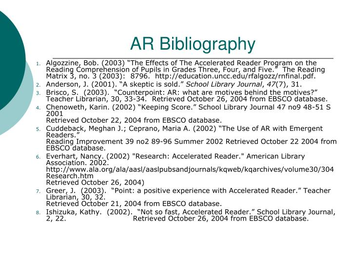 """Algozzine, Bob. (2003) """"The Effects of The Accelerated Reader Program on the Reading Comprehension of Pupils in Grades Three, Four, and Five."""" The Reading Matrix 3, no. 3 (2003): 8796. http://education.uncc.edu/rfalgozz/rnfinal.pdf."""