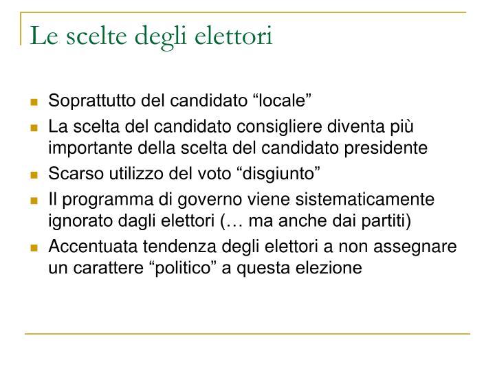 Le scelte degli elettori