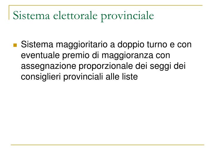 Sistema elettorale provinciale