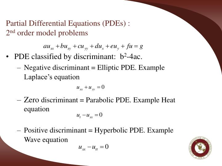 Partial differential equations pdes 2 nd order model problems