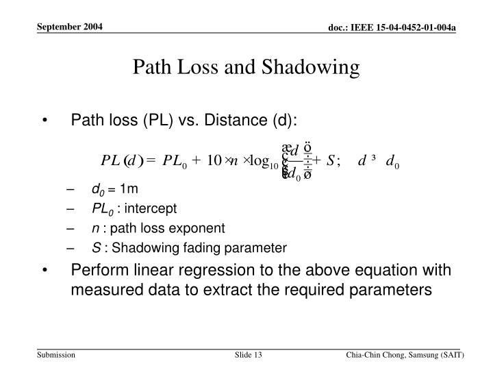 Path Loss and Shadowing
