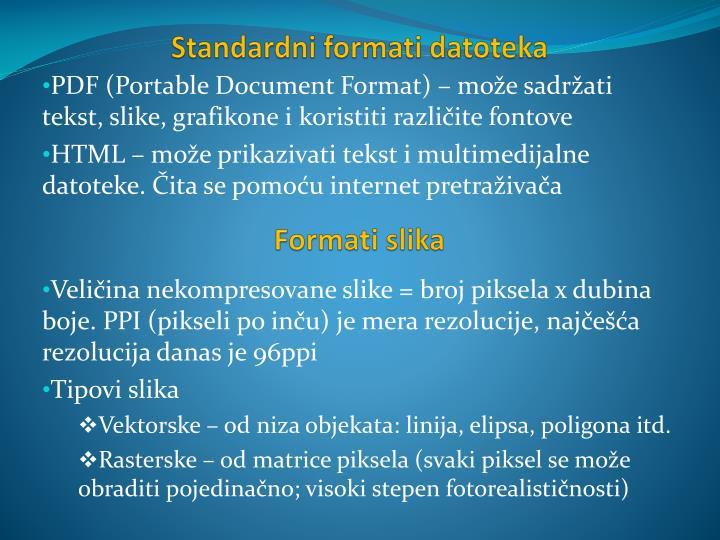 Standardni formati datoteka