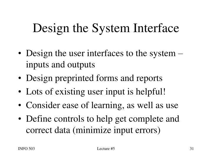 Design the System Interface