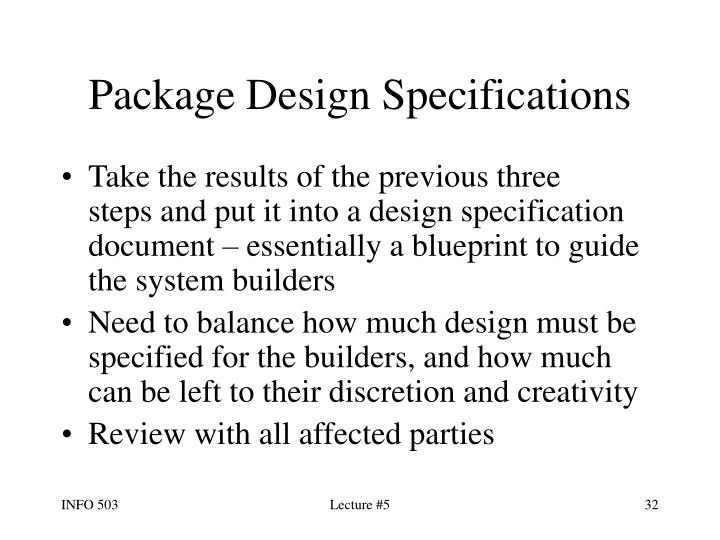 Package Design Specifications
