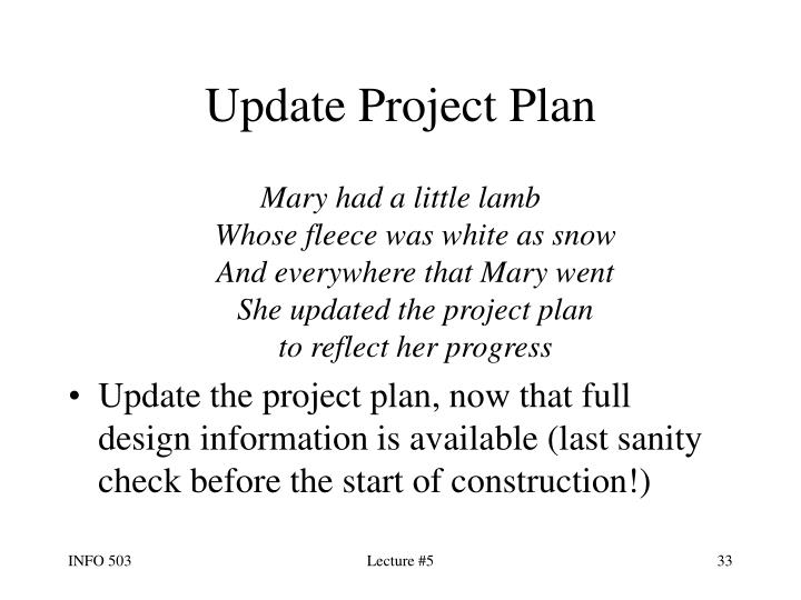 Update Project Plan