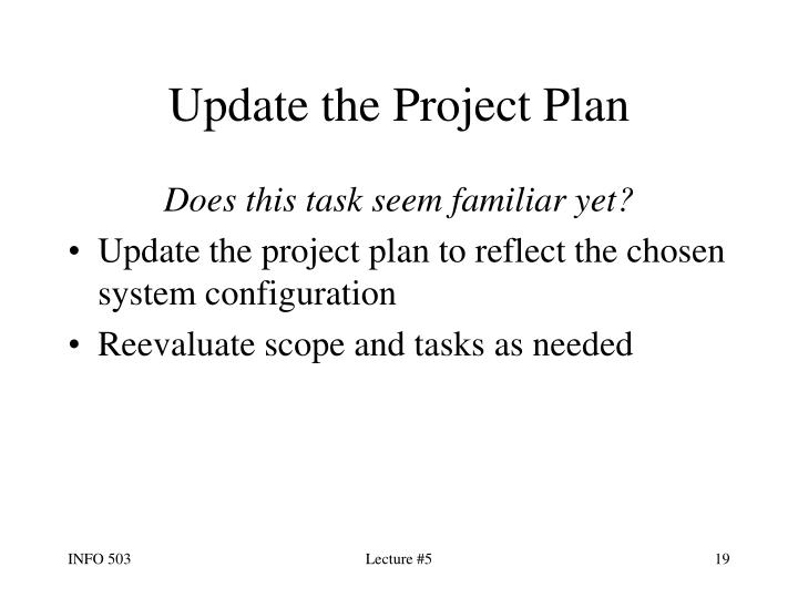 Update the Project Plan