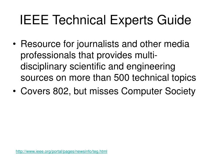 IEEE Technical Experts Guide