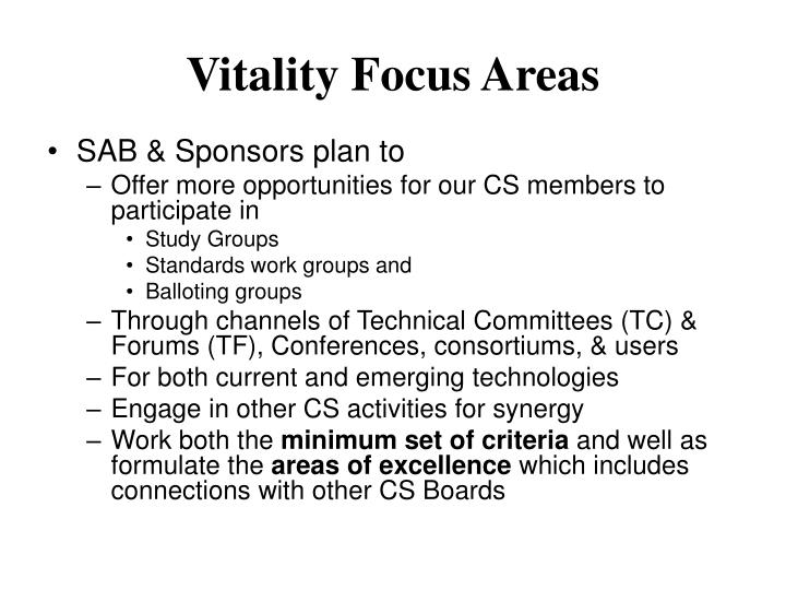 Vitality Focus Areas