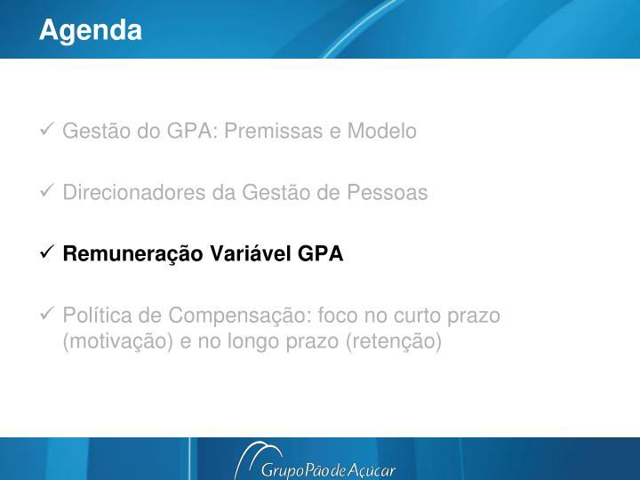 Gestão do GPA: Premissas e Modelo
