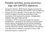 possible activities across provinces align with safefe objectives