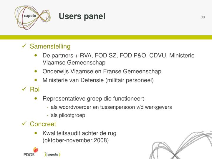 Users panel