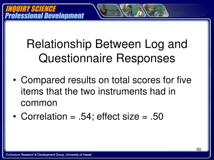 Relationship Between Log and Questionnaire Responses