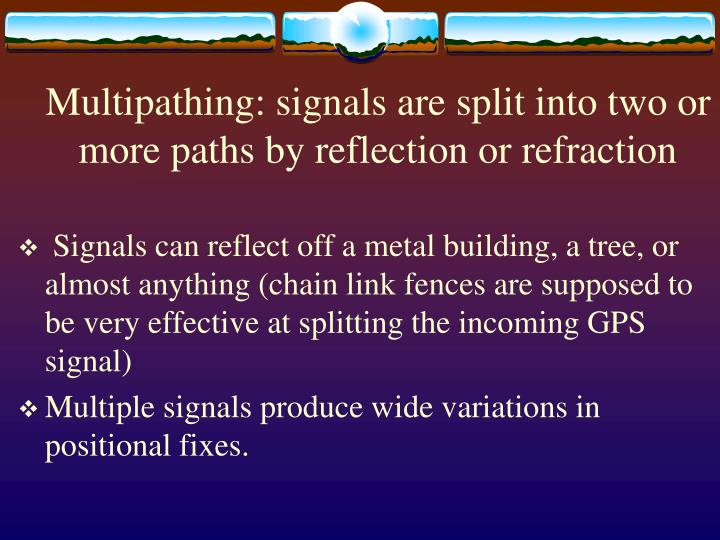 Multipathing: signals are split into two or more paths by reflection or refraction
