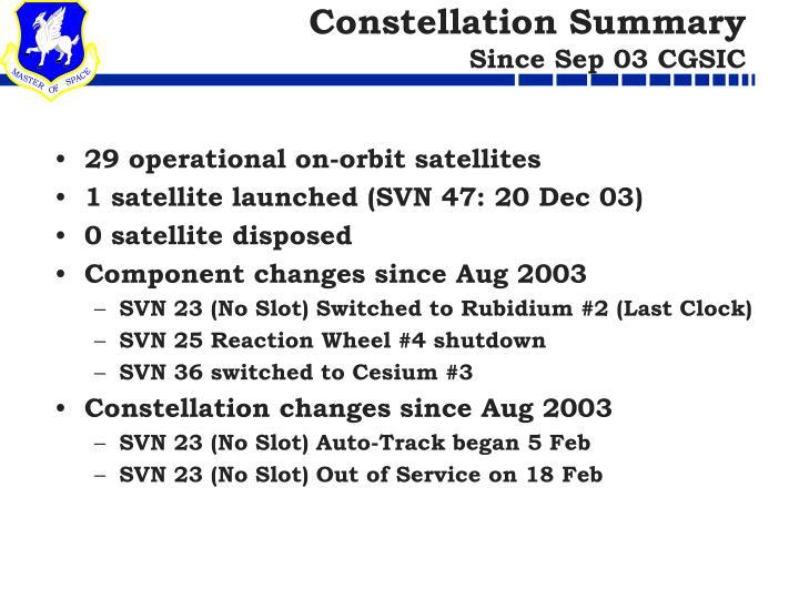 Constellation summary since sep 03 cgsic