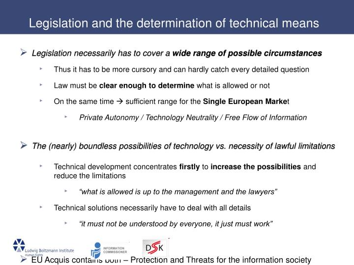 Legislation and the determination of technical means