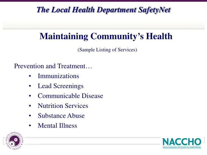 Maintaining Community's Health