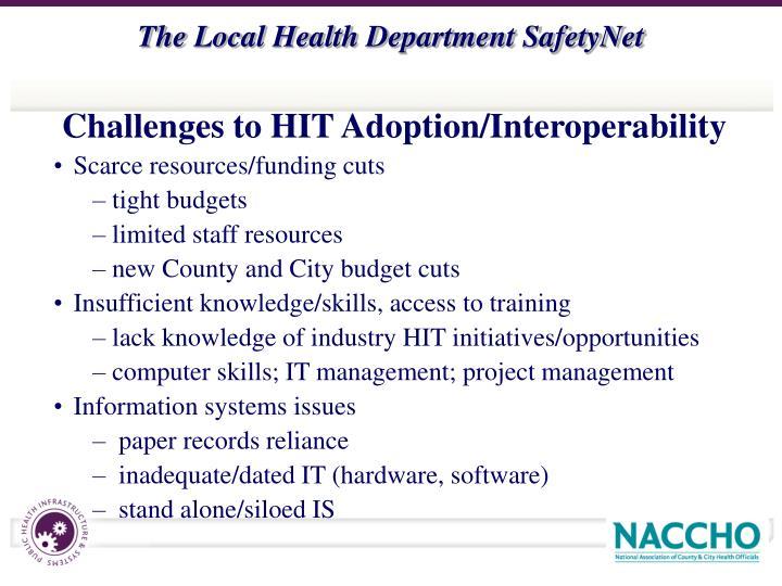 Challenges to HIT Adoption/Interoperability