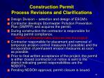 construction permit process revisions and clarifications