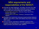 ms4 requirements and responsibilities of the nddot