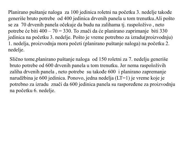 Planirano puštanje naloga  za 100 jedinica roletni na početku 3. nedelje takođe gen
