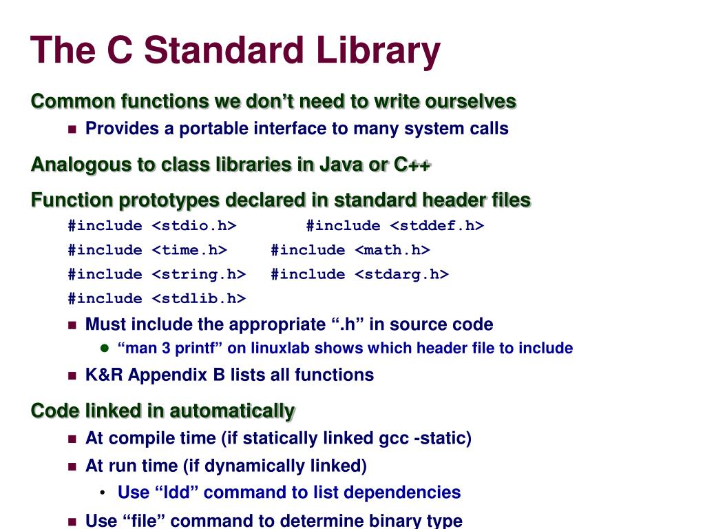 PPT - CS 201 The Standard C Library PowerPoint Presentation
