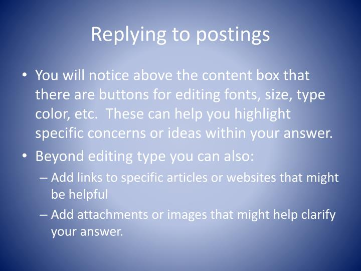 Replying to postings