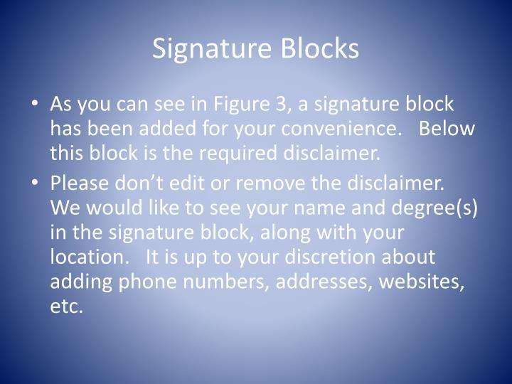 Signature Blocks