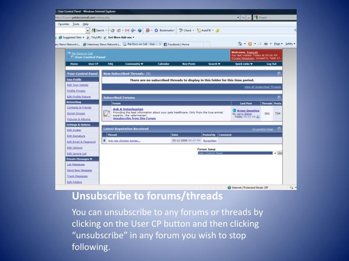 Unsubscribe to forums/threads