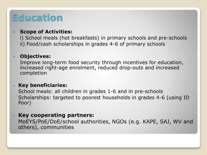 Scope of Activities: