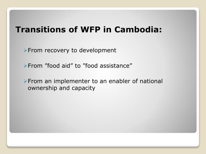 Transitions of WFP in Cambodia: