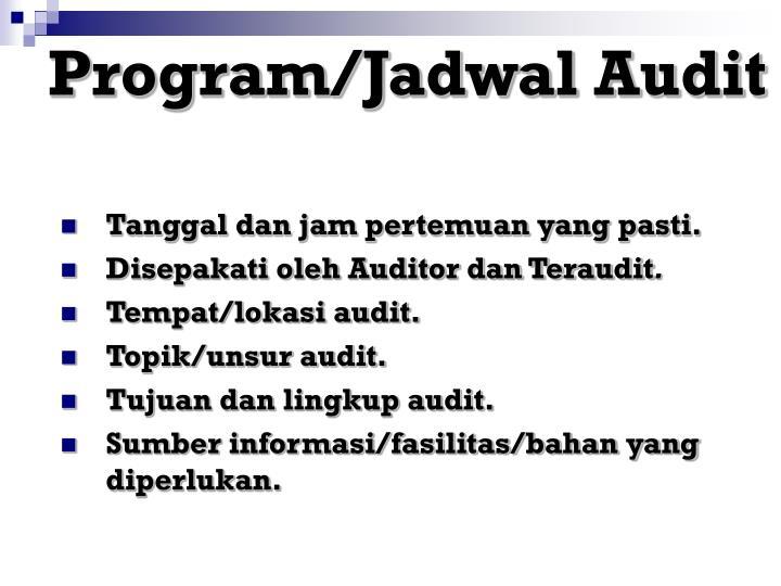 Program/Jadwal Audit