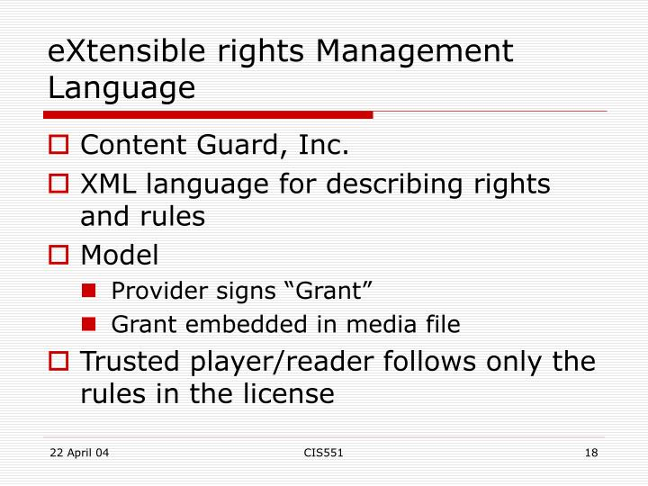 eXtensible rights Management Language