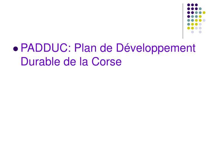 PADDUC: Plan de Développement Durable de la Corse