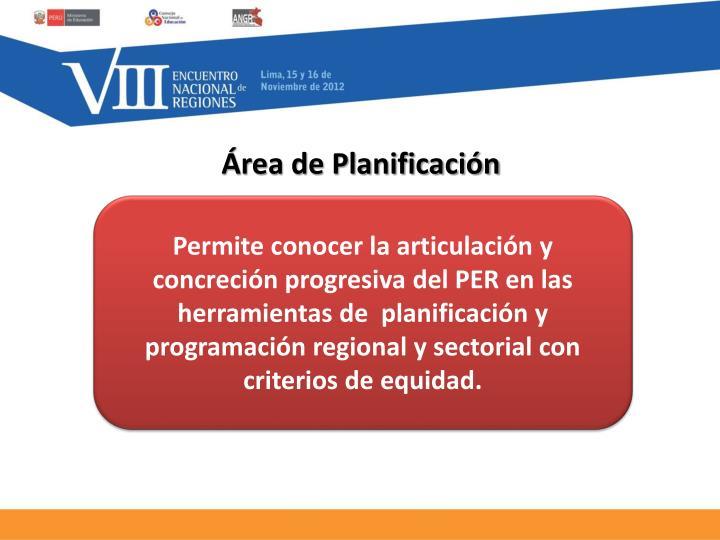 Área de Planificación