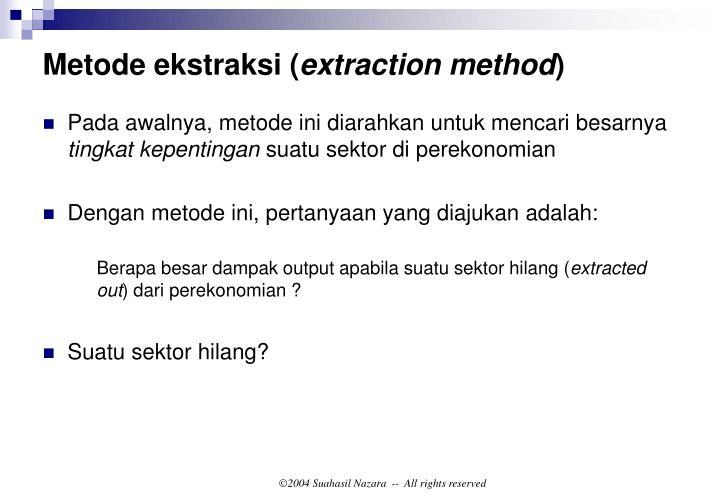 Metode ekstraksi (