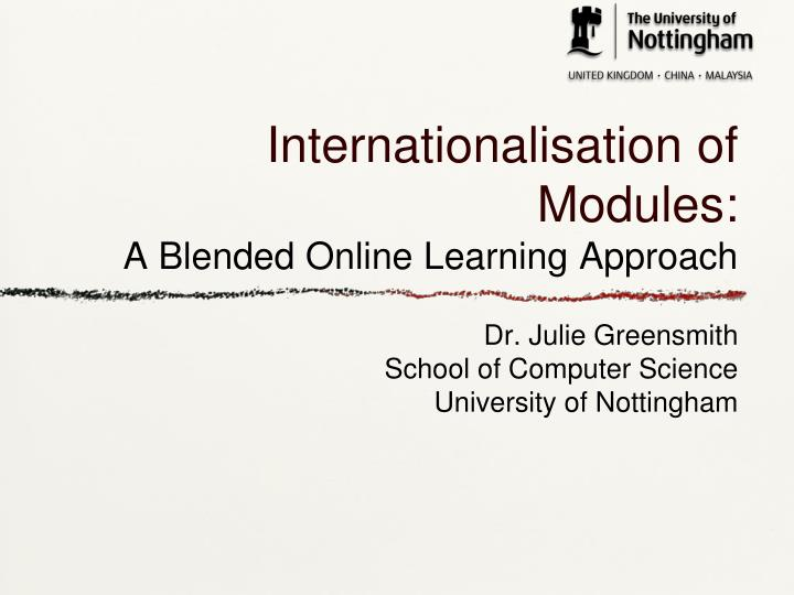 internationalisation of modules a blended online learning approach