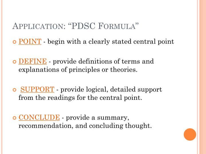 "Application: ""PDSC Formula"""