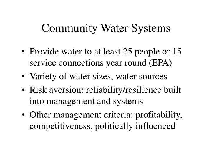 Community Water Systems