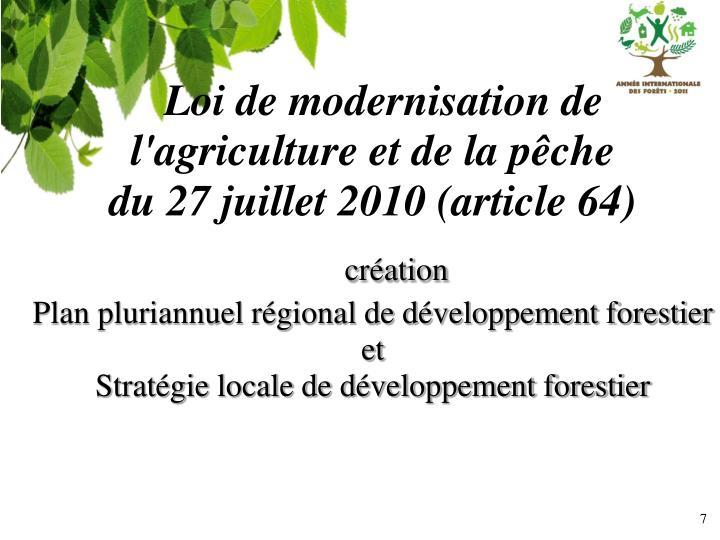 Loi de modernisation de l'agriculture et de la pêche
