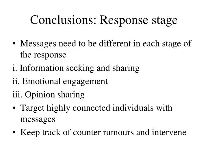 Conclusions: Response stage