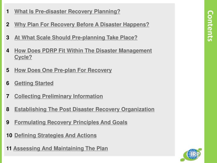 the formulation of disaster management strategy to help organizations recover from a disaster