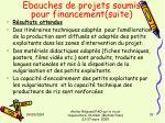 ebauches de projets soumis pour financement suite1
