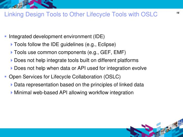 Linking Design Tools to Other Lifecycle Tools with OSLC