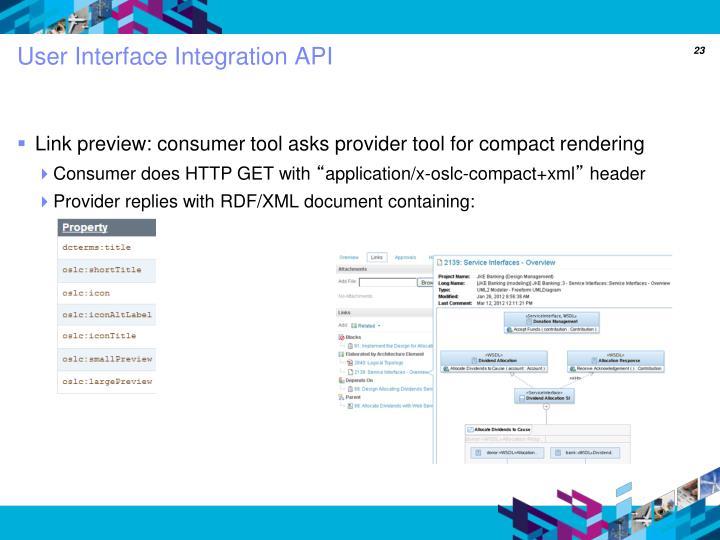 User Interface Integration API