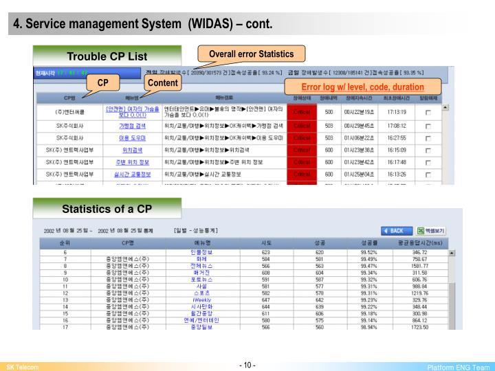 4. Service management System  (WIDAS) – cont.