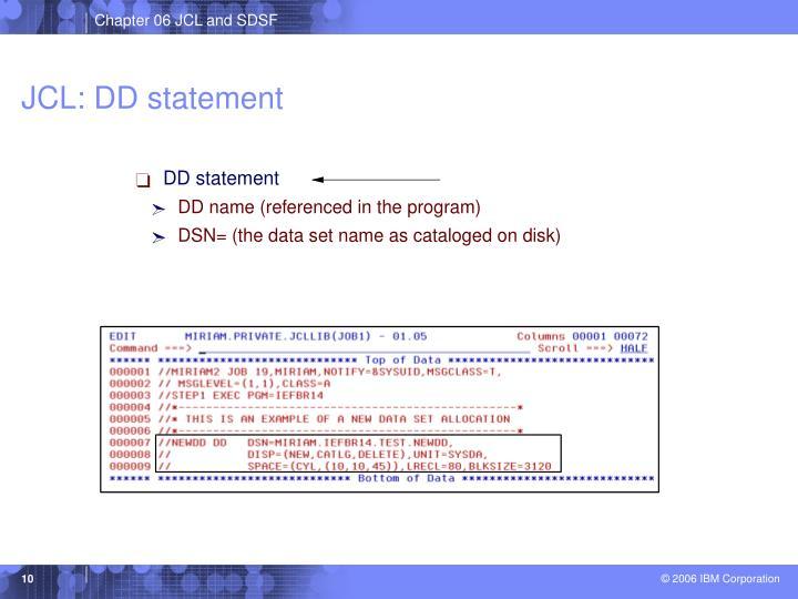 JCL: DD statement